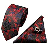 PinkBTFY Mens Suit Necktie&Pocket Square Towel&Cufflink Wedding Handkerchief Skinny Tie YZ03