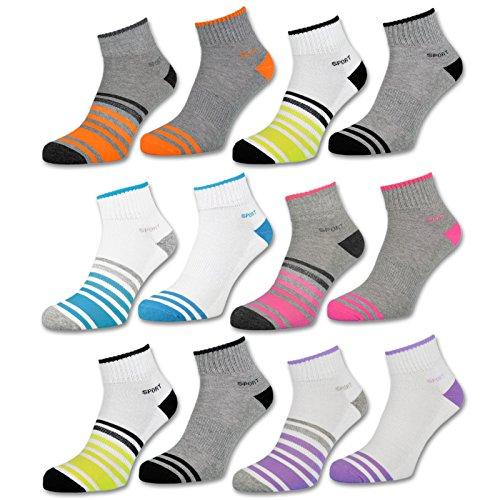 sockenkauf24 6 oder 12 Paar SPORT Sneaker Socken Damen verstärkte Frotteesohle Sportsocken Damensocken - 36850/23
