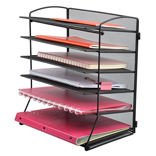 Easepres 6-Tier Mesh Desktop File Organizer Document Letter Tray Holder for Office or Home, Black