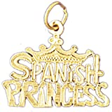 14K Yellow Gold Spanish Princess Pendant Necklace - 20 mm