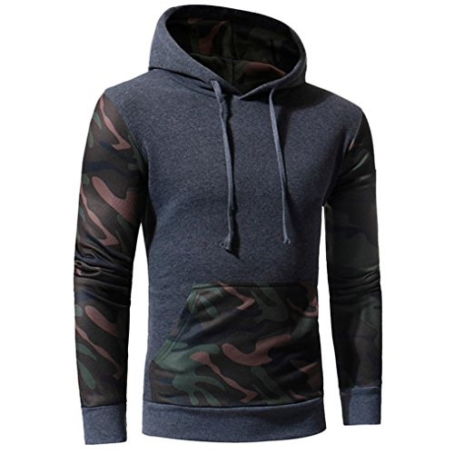 Sinzelimin Winter Autumn Men's Camouflage Sweatshirt Sport Long Sleeve Causal Jacket with Hood Coat Outwear (Gray, XXL) by Sinzelimin