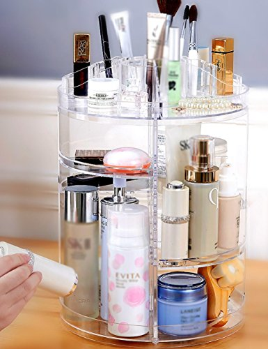 FLHSLY Cosmetic storage box Transparent Rotate Finishing shelf Desktop Skin care products Dressing table Storage Cosmetic case storage Artifact by FLHSLY