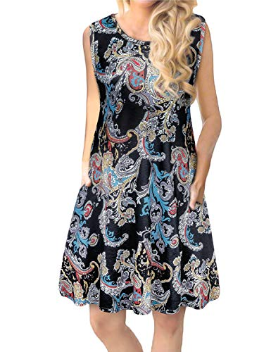 Tanst Women Summer Sleeveless Damask Print T-Shirt Dress with Pockets(S-3XL) (XXX-Large (22), Black Flower) (Plus Cruise Size Dress Maxi)