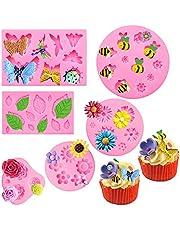 Sakolla (Set of 6) Fondant Molds Set, Mini Flower Molds Butterfly Molds Leaf Molds Bee Clay Molds for Cake Decorations Gum Paste Molds(Chrysanthemum/Rose/Daisy/Small Flower)