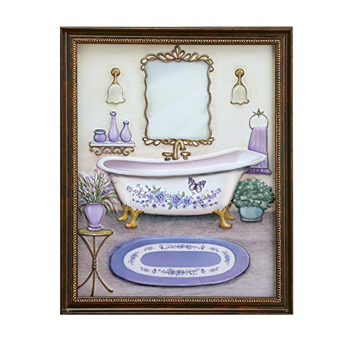 Collections Etc Lavender Bathroom Framed Wall Art -