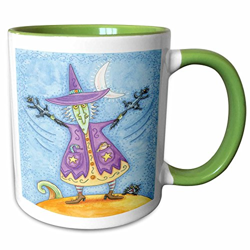 3dRose Anne Marie Baugh - Halloween - Halloween Witch With Screeching Cat In Each Hand Illustration - 15oz Two-Tone Green Mug (mug_216762_12)]()