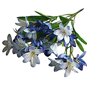MARJON Flowers1 Bouquet Artificial Fake Mini Lily Flowers Silk Plants Wedding Party Decoration Real Touch Flowers DIY Home Garden (Blue) 78