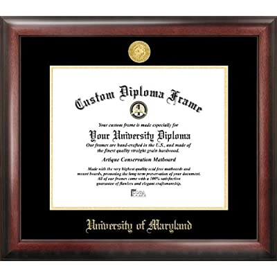 Image of Campus Images MD998GED University of Maryland Embossed Diploma Frame, 13' x 17', Gold Document Frames