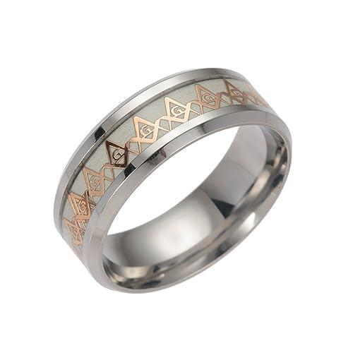 Amazon.com: Freemason masónico luminoso anillos para hombres ...