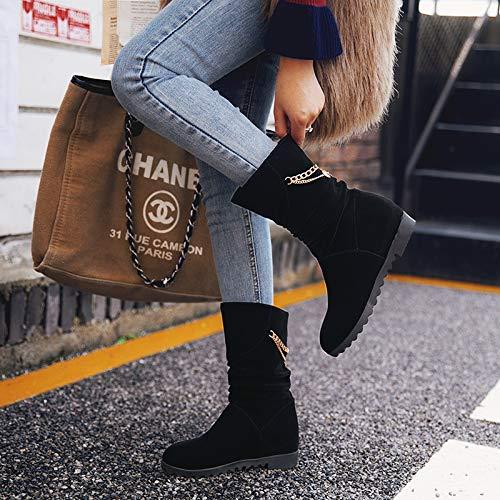 HBDLH Damenschuhe Eine Eine Eine Halbe Tonne Stiefel Heel 3 cm Innerer Größe Martin Stiefel Kurze Barrel 100 Setzt Dicke Hintern Kurze Stiefel 04cc38
