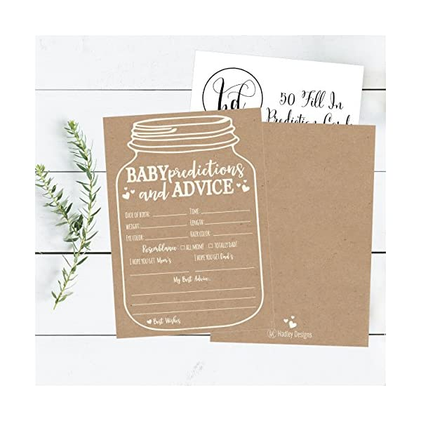 50 Mason Jar Advice And Prediction Cards For Baby Shower Game New