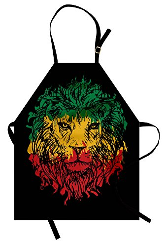 Ambesonne Rasta Apron, Ethiopian Flag Colors on Grunge Sketchy Lion Head with Black Backdrop, Unisex Kitchen Bib Apron with Adjustable Neck for Cooking Baking Gardening, Pale Green and Yellow
