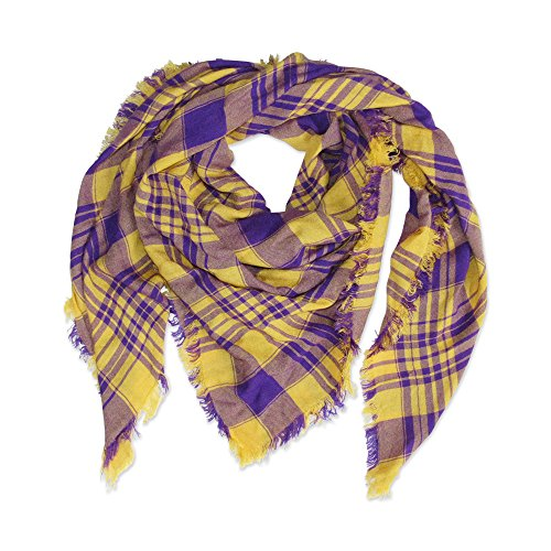 (Tickled Pink Women's Game Day Sports Team Apparel Scarf or Wrap, Purple/Gold, 40 x 40