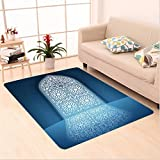 Nalahome Custom carpet rs of Antique Old Mosque Grace Faith Theme Islamic Eid Ethnic Illustration Print White Turquoise area rugs for Living Dining Room Bedroom Hallway Office Carpet (5' X 7')