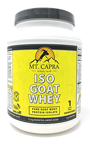 Goat Whey Isolate by Mt. Capra - ISO-GOAT WHEY Pure Goats Milk Protein, Contains All Essential Amino Acids, High in Leucine, Non GMO, No Hormones, Gluten Free, Unsweetened - 1 pound (Goat Milk Whey Powder)