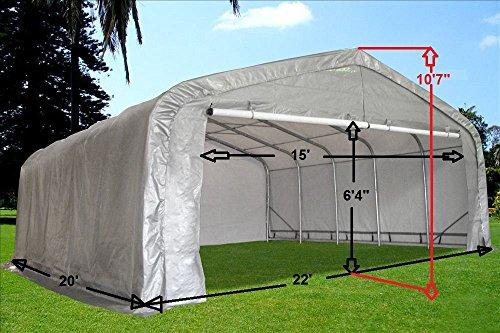 Amazon.com 20u0027x22u0027 Carport Grey/White - Waterproof Storage Canopy Shed Car Truck Boat Garage - By DELTA Canopies Garden u0026 Outdoor & Amazon.com: 20u0027x22u0027 Carport Grey/White - Waterproof Storage Canopy ...