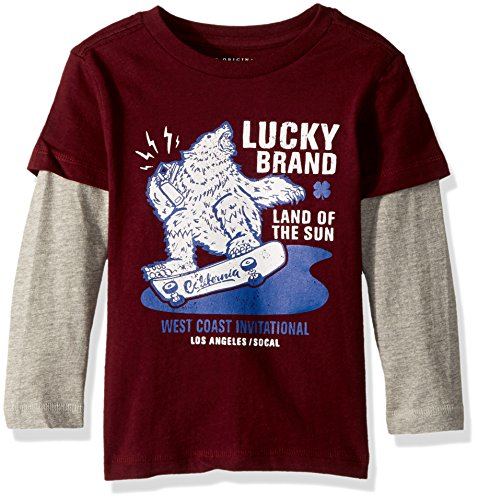 Lucky Brand Boys' Long Sleeve Graphic Doubler Tee Shirt, Port Royal Sun, 7