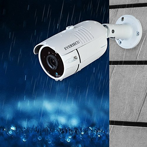 Eversecu 1080P 2.0MP HD CMOS Sensor AHD / TVI / CVI / 960H Bullet Analog Camera, 2MP Full HD Weatherproof CCTV Security Camera for Outdoor Surveillance (3.6 mm Lens, Metal, White)