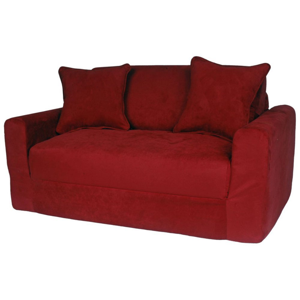 Amazon.com: Fun Furnishings Micro Suede Sofa Sleeper With Pillows, Red:  Kitchen U0026 Dining