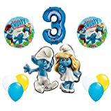 The Smurfs Birthday Party Supplies Smurf and Smurfette 3rd Smurfy Birthday Balloon Decorations