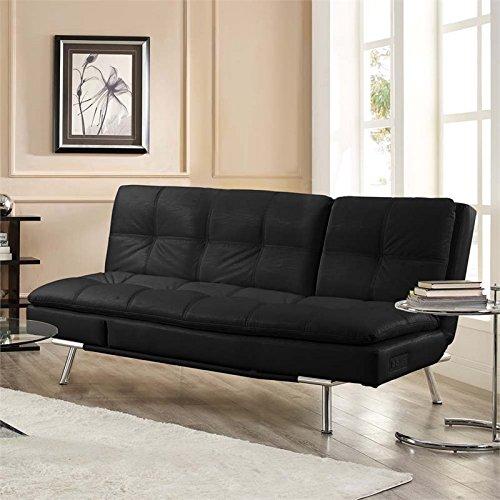 Lifestyle Solutions Serta Roma Convertible Sofa in Black