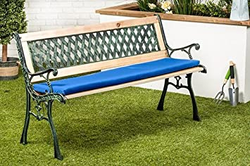 Blue Water Resistant Small Outdoor Metal Bench Seat Cushion Bench
