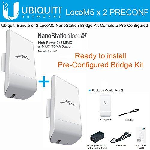 Ubiquiti LocoM5 X 2 Units Bridge Kit Complete Pre-Configured Nanostation Loco M5 by Ubiquiti Networks