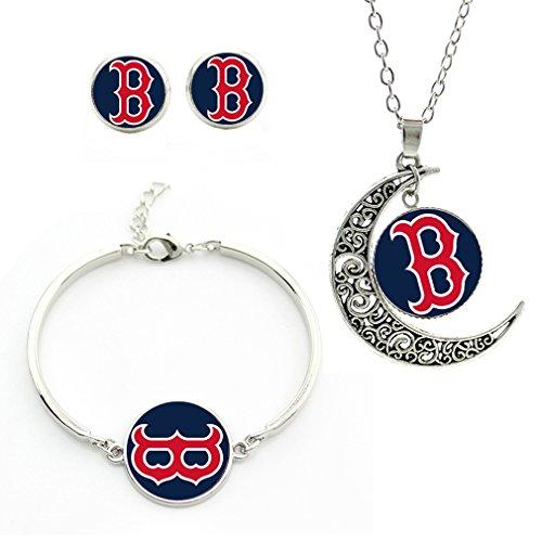 M02 Boston Red Sox team logo set - necklace, bracelet, earrings-