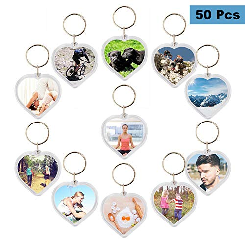 Photo Keychain (50 pcs) - Heart Shaped Acrylic Clear Blank Keyring with Photo Insert - DIY Birthday Wedding Favour Keyring Gifts Acrylic Plastic Photo Blank Snap In Keychains Personalized - Key Photo Ring Heart