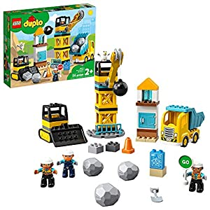 LEGO DUPLO Construction Wrecking Ball Demolition 10932 Exclusive Toy for Preschool Kids; Building and Imaginative Play…