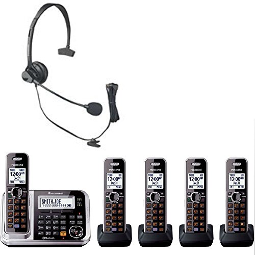Cordless Phone Bluetooth Adapter - Bluetooth Enabled Panasonic Cordless Phone with Five Cordless Handsets, Ten Rechargeable Batteries and Panasonic Hands Free Headset Bundle Set Great for Home and Small Office Use