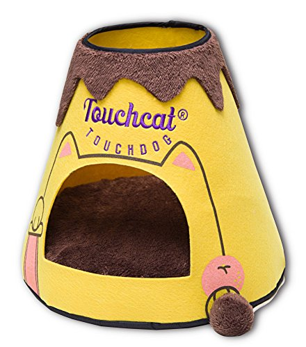 TOUCHCAT 'Molten Lava' Triangular Frashion Designer Pet Kitty Cat Bed House Lounge Lounger w/ Hanging Teaser Toy, Large, Brown and Yellow For Sale