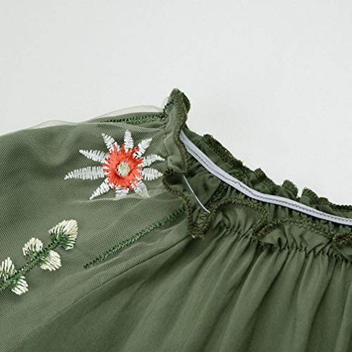 Dentelle Tops Col Femmes Blouse Trompette Chemisier Rond AIMEE7 Arme Florale Verte Broderie xYaTO6wqU