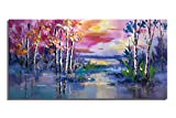 Modern Oil Painting Colorful Dusk Sky Clouds Sunset Trees Lake Landscape Canvas Art Painting Print Wall Art For Home Living Room Decor Abstract Artwork Unframed (20x40inch)
