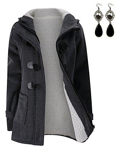 capucha Hoodie Sweater Suéter Mujer Gris Suelta Grueso con Queen Terciopelo M Invierno Sudaderas Chaqueta Horn con Abrigo botones Pullover 7wIgvO
