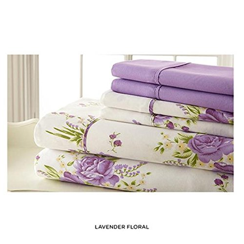 Spirit Linen Hotel 5Th Ave Palazzo Home 6-Piece Luxurious Printed Sheet Set, Twin, Lavender (Floral Bed Linens)