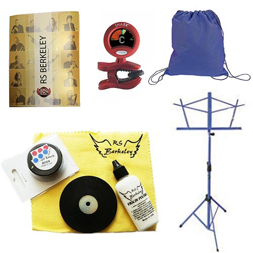 Back to School Cello Accessory Pack - Includes: Drawstring Backpack, Cello Care Cleaning & Maintenance Kit, Band Folder, Cello Tuner/Metronome, & Music Stand