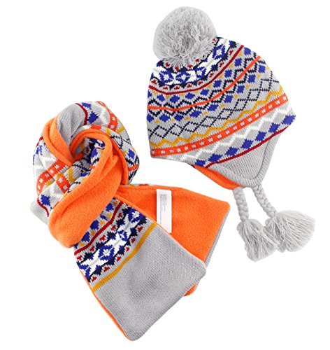 RUHI Prefer Outdoor Kids Girls Boys Beanie Earflaps Jacquard Print Winter Snow Ski Hat Sccarf Set 12-24 Months