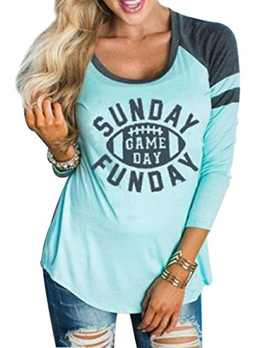 FAYALEQ Women 3/4 Sleeve Sunday Game Day Funday Letters Print Raglan T-Shirt Tops Blouse Size XL (Blue)