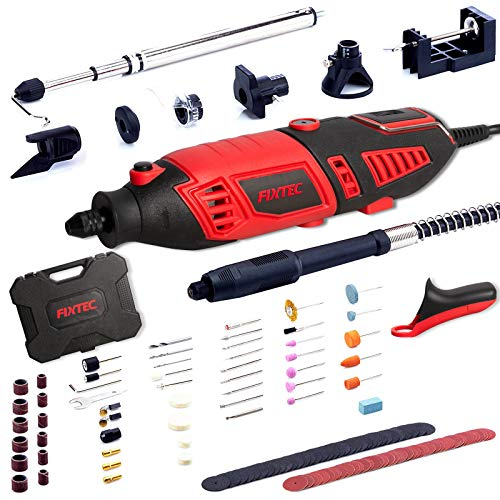 FIXTEC Professional Rotary Tool Kit with Heavy Duty 170W/1.4A Electric Motor, Universal 3-Jaw Chunk, 10 Attachments, 125…