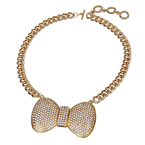 Statement Blingbling Bow Necklace Alloy Rhinestone Chunky Costume Jewelry (Gold Color)