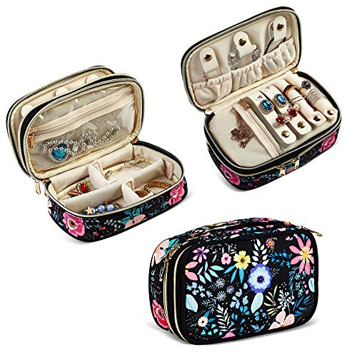 Travel Jewelry Organizer Jewelry Travel Case Holder for Earrings,Necklace,Watch,Rings and More Essentials,Compact and Portable Black-Flower