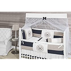 Cown Themed Navy Blue and Beige Baby Boy 10 Pcs Nursery Crib Bedding Set Embroidered