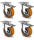 Rollensatz 4 Lenkrollen mit Feststeller 100 mm Polyurethan braun