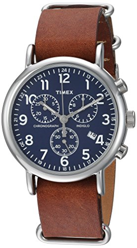 Timex Unisex TW2R63200 Weekender Chrono Brown Double-Layered Leather Slip-Thru Strap Watch - Watch Brass Leather Wrist