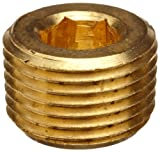 Merit Brass Lead Free Pipe Fitting, Hex Countersunk Plug, 3/8'' National Pipe Taper Thread Male (Pack of 25)
