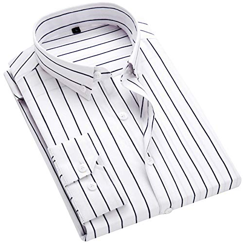 ERZTIAY Men's Classic Casual Vertical Striped Slim Fit Long Sleeve Dress Shirts White ()