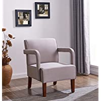 IDS Living Room Bedroom Contemporary Stylish Button-Tufted Upholstered Accent Arm Chair Wooden Leg -Light Grey Fabric