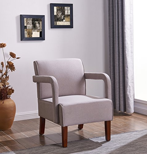 IDS Living Room Bedroom Contemporary Stylish Button-Tufted Upholstered Accent Arm Chair Wooden Leg -Light Grey Fabric by IDS Home (Image #4)