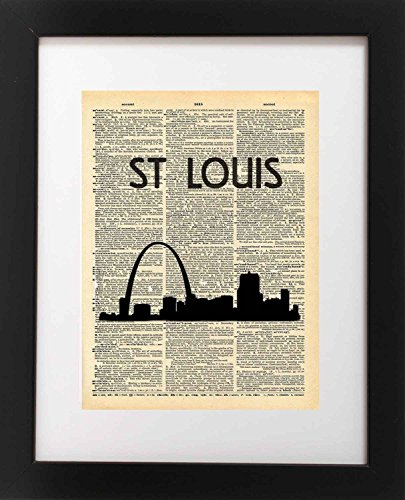 - St Louis Arch City Skyline Vintage Dictionary Art Print 8x10 inch Home Vintage Art Abstract Prints Wall Art for Home Decor Wall Decorations For Living Room Bedroom Office Ready-to-Frame